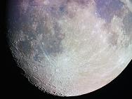Der südliche Teil des Mondes, Foto farbverstärkt