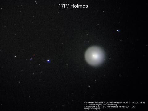 Der Komet Holmes, während des Ausbruchs, 31. Oktober 2007