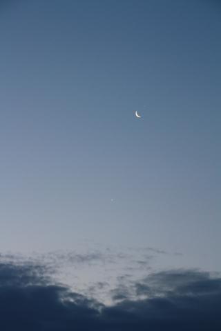 Nach der Bedeckung des Jupiters steht der Mond zwischen Venus und Jupiter