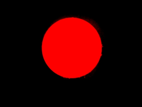 Sonne H-Alpha, 15. Januar 2012, durch Verstärkung werden Protuberanzen sichtbar